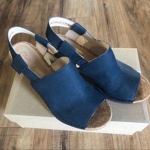 Clarks Blue Suede Wedge Sandals